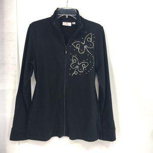 Quacker Factory Rhinestone Butterfly Black Jacket